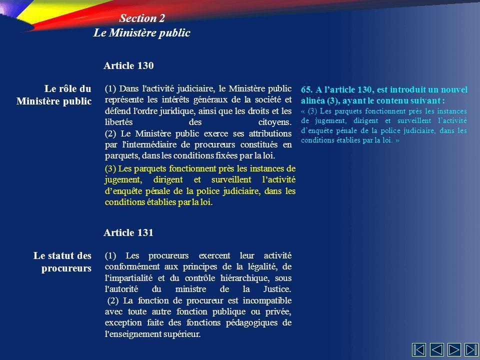 Section 2 Le Ministère public