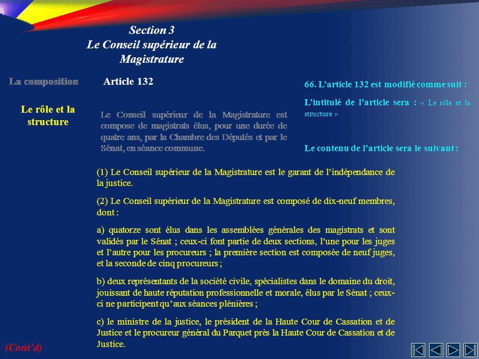 Section 3 Le Conseil supérieur de la Magistrature