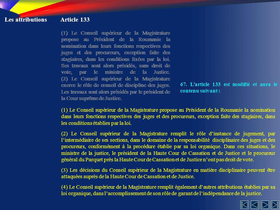 Les attributions Article 133