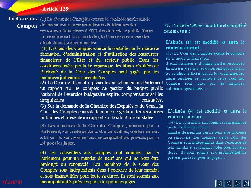 Article 139 La Cour des Comptes (Cont'd)