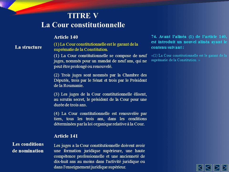 TITRE V La Cour constitutionnelle