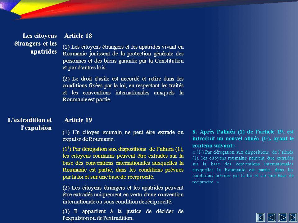 Les citoyens étrangers et les apatrides Article 18