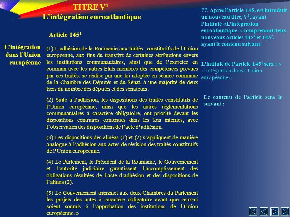 TITRE V1 L'intégration euroatlantique