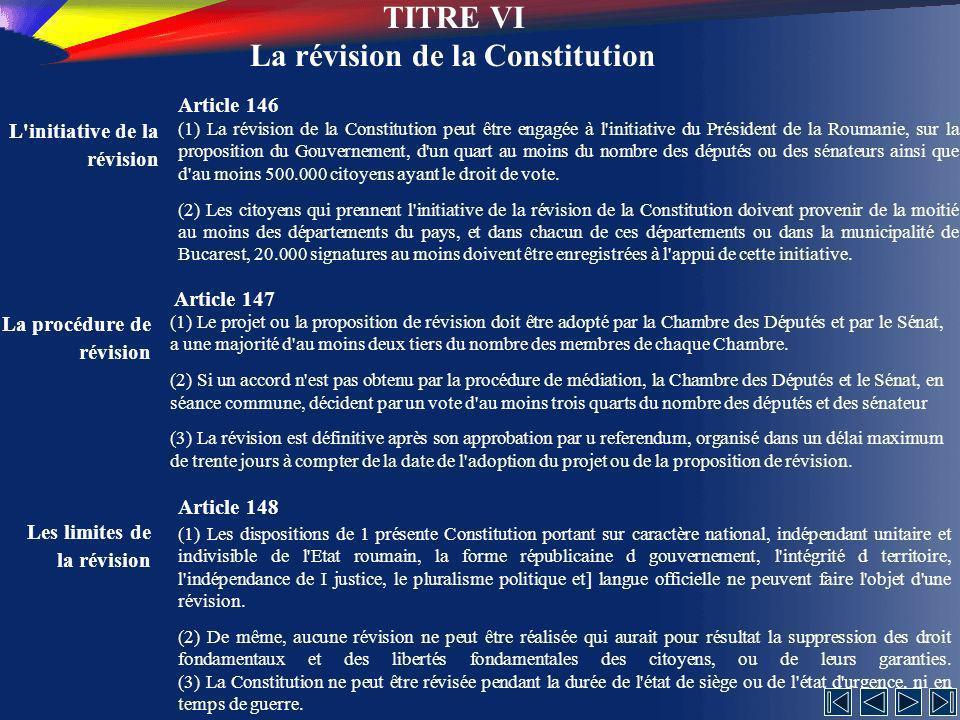 TITRE VI La révision de la Constitution