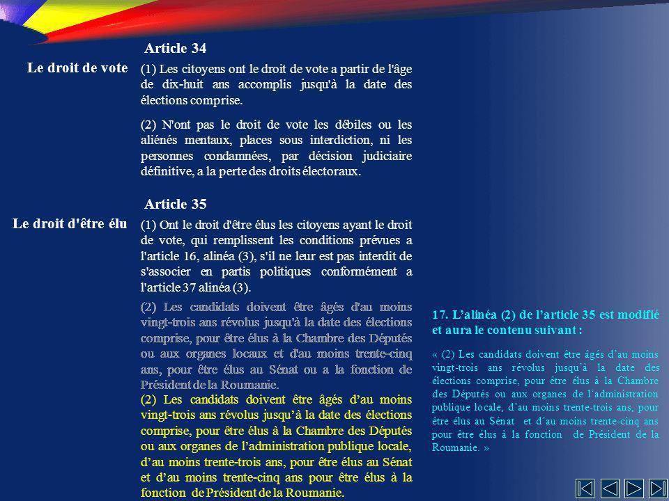 Article 34 Le droit de vote Article 35 Le droit d être élu