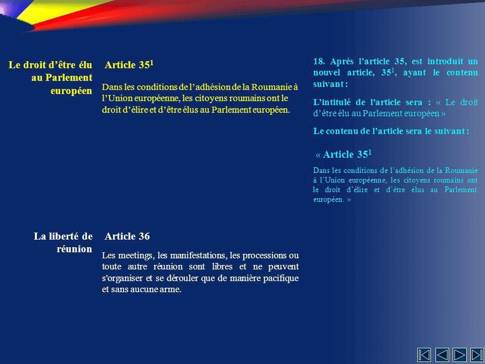 Le droit d'être élu au Parlement européen Article 351