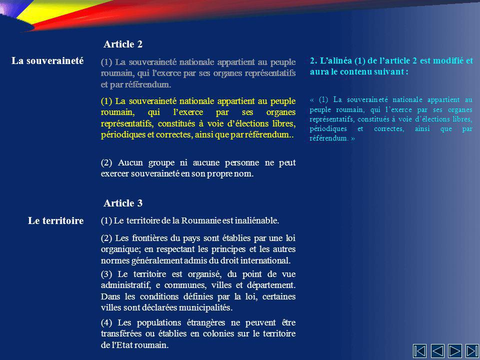 Article 2 La souveraineté Article 3 Le territoire