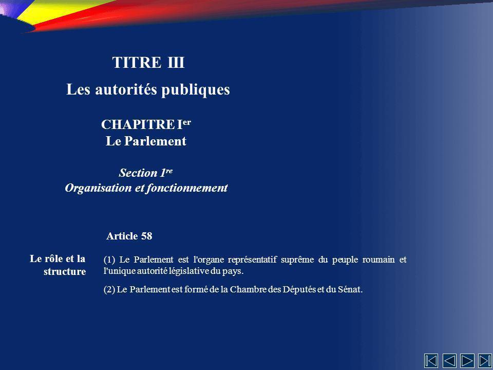 Les autorités publiques Organisation et fonctionnement