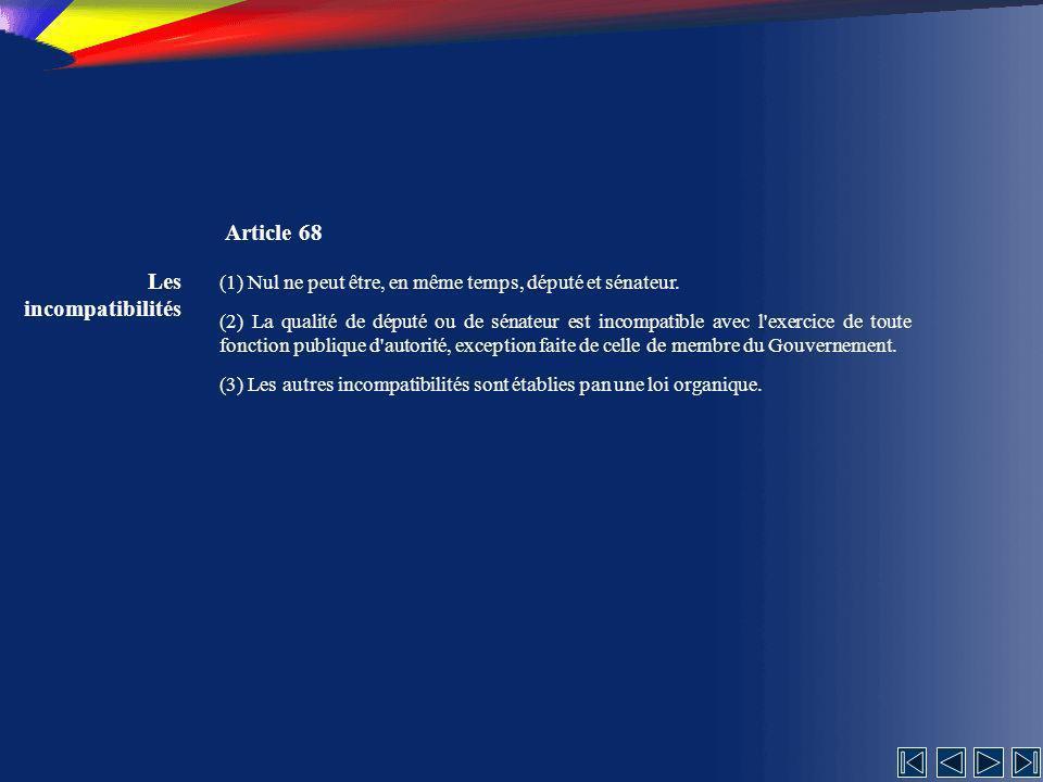 Article 68 Les incompatibilités