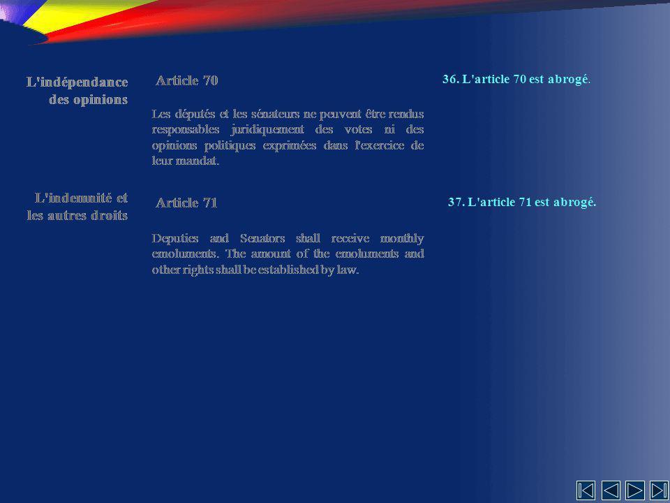 L indépendance des opinions Article 70 L indépendance des opinions