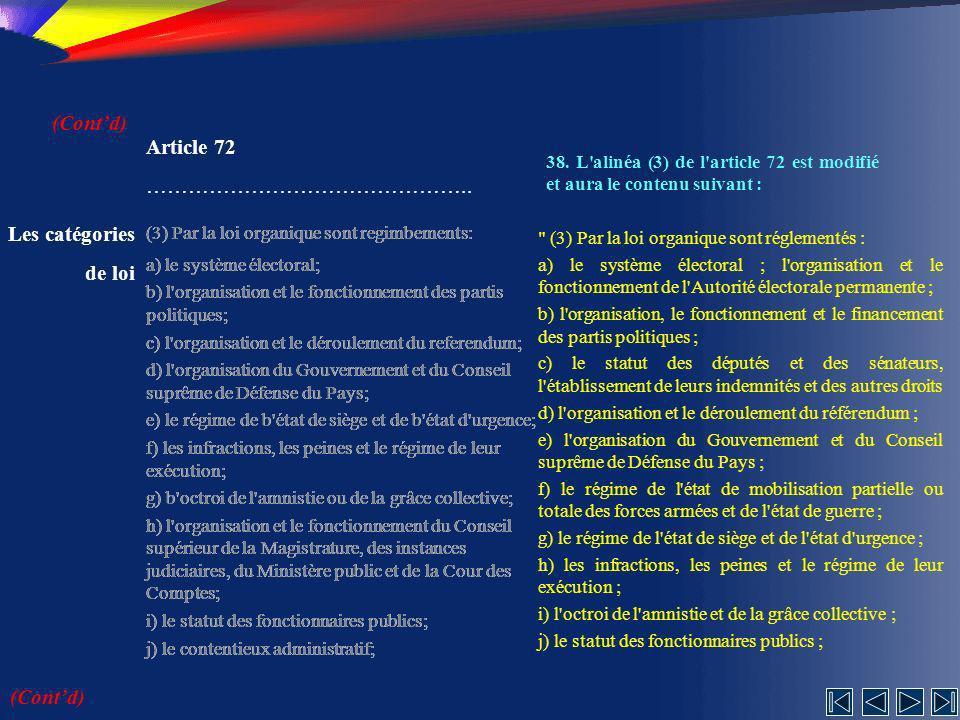 (Cont'd) Article 72 ……………………………………….. Les catégories de loi (Cont'd)