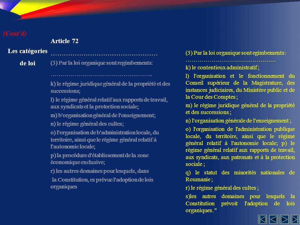 (Cont'd) Article 72 …………………………………………. Les catégories de loi