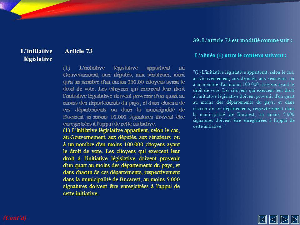 L initiative législative Article 73