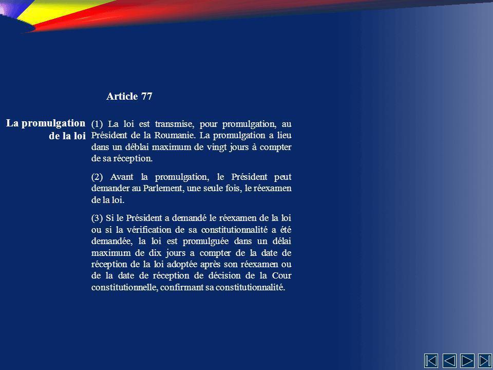 La promulgation de la loi