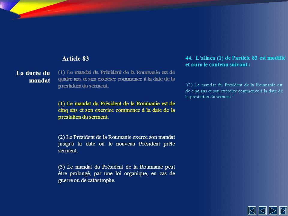 Article 83 La durée du mandat