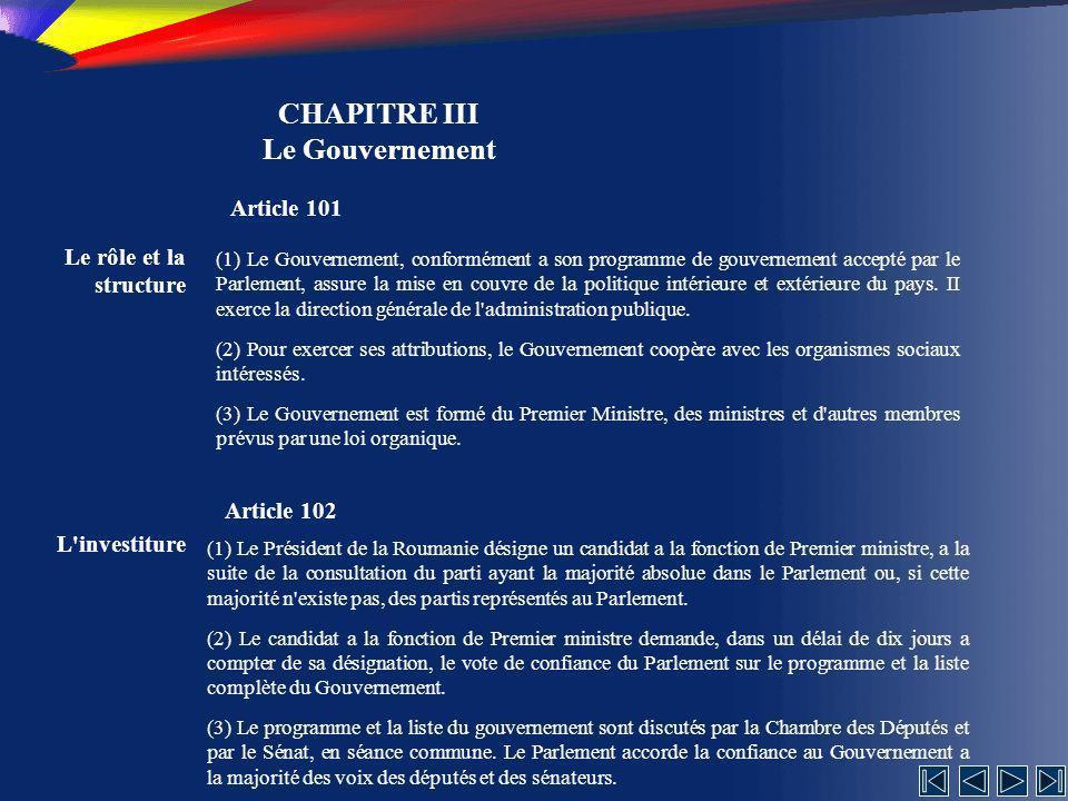 CHAPITRE III Le Gouvernement