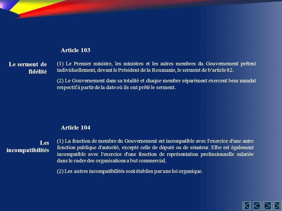 Article 103 Le serment de fidélité Article 104 Les incompatibilités