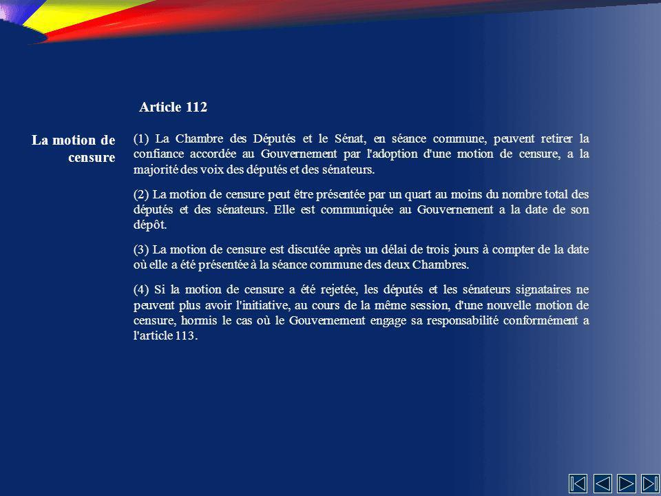 Article 112 La motion de censure