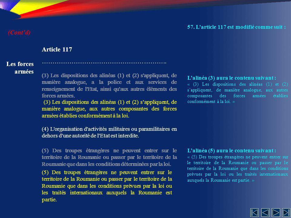 (Cont'd) Article 117 ………………………………………………….. Les forces armées