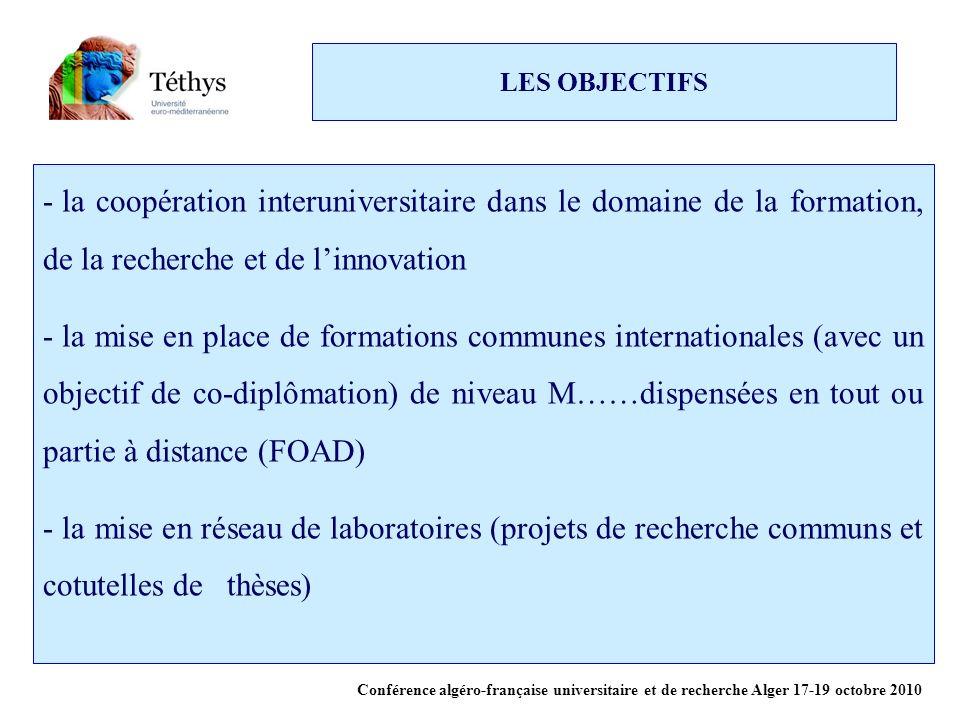 LES OBJECTIFS la coopération interuniversitaire dans le domaine de la formation, de la recherche et de l'innovation.