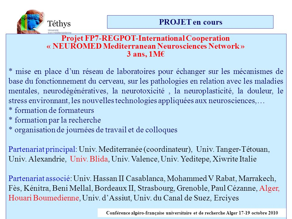 Projet FP7-REGPOT-International Cooperation