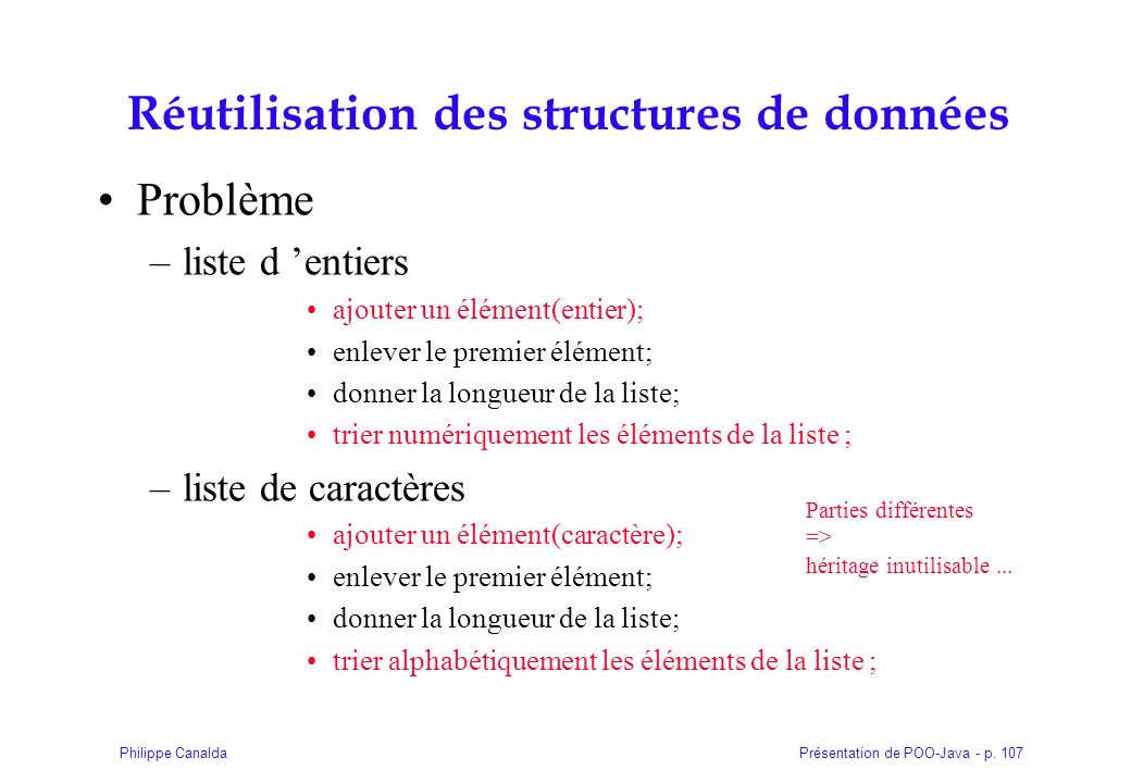Réutilisation des structures de données