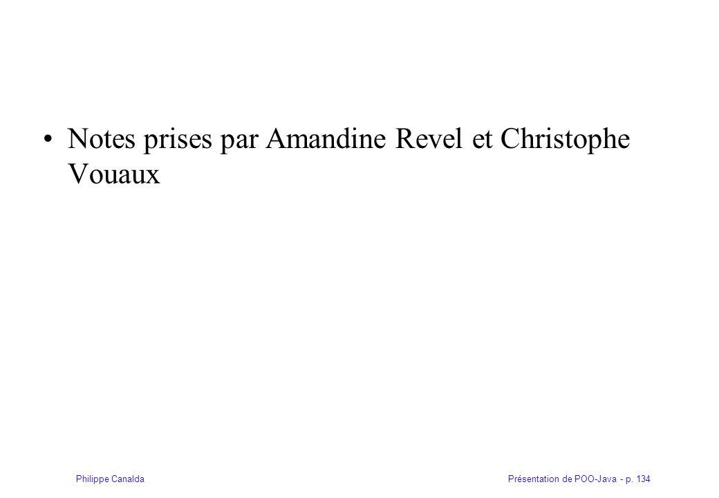 Notes prises par Amandine Revel et Christophe Vouaux