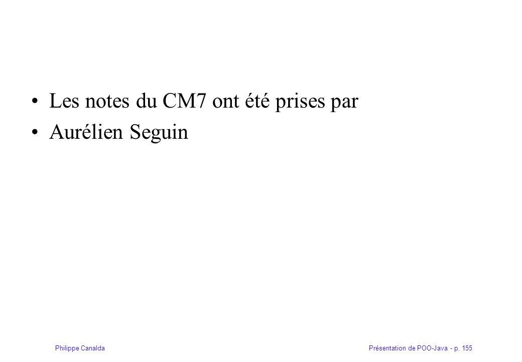 Les notes du CM7 ont été prises par
