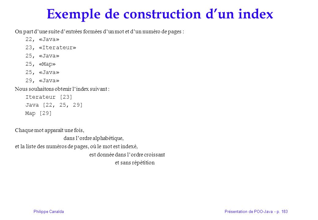 Exemple de construction d'un index