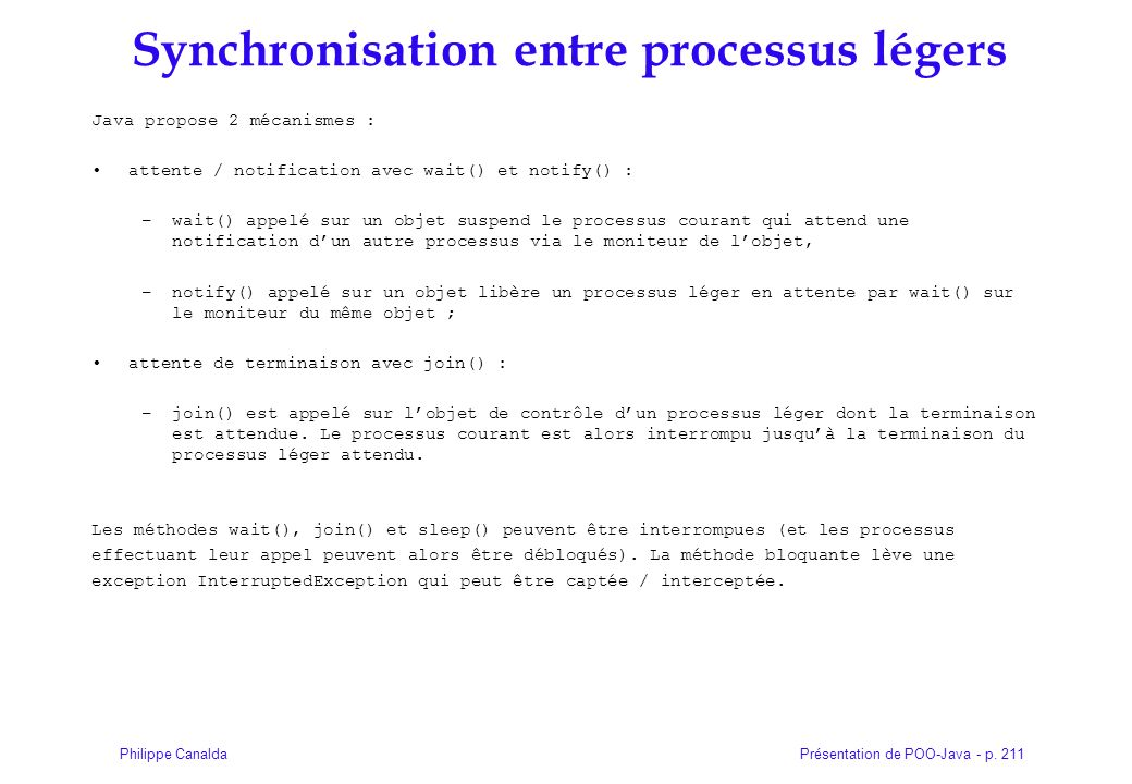 Synchronisation entre processus légers