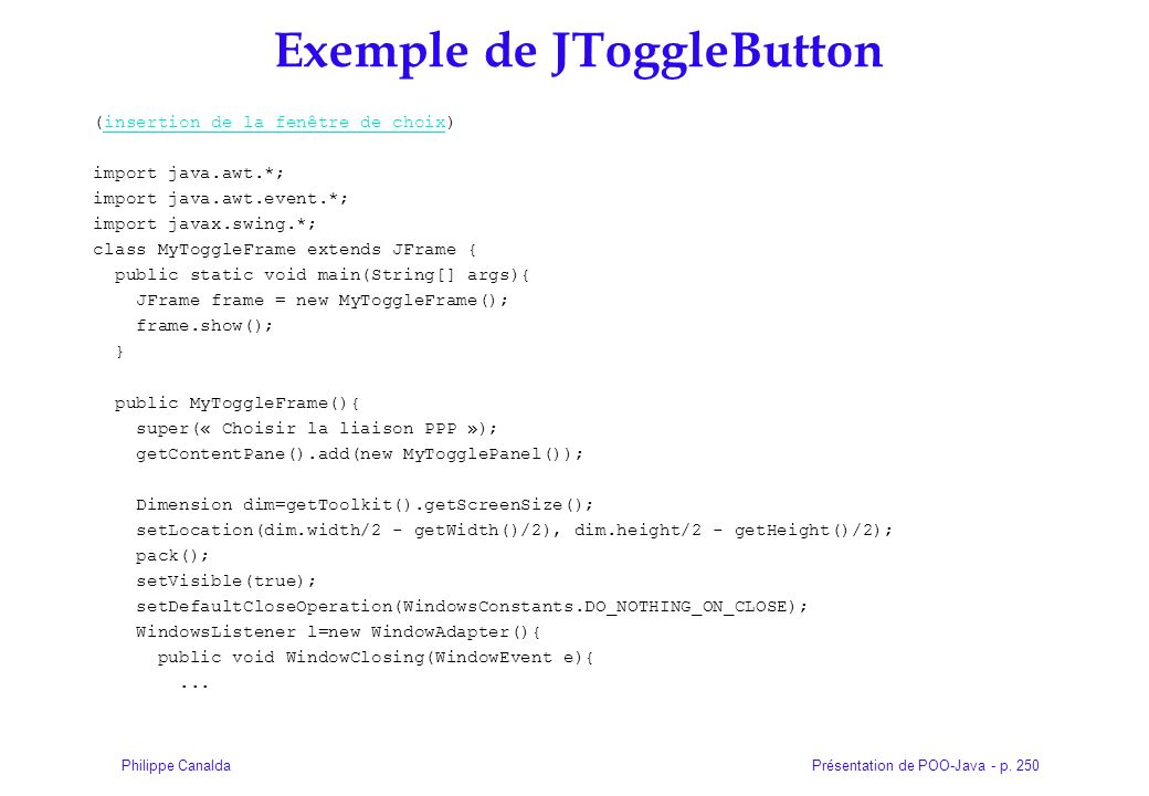 Exemple de JToggleButton