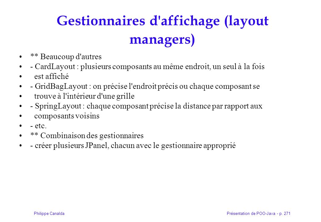 Gestionnaires d affichage (layout managers)
