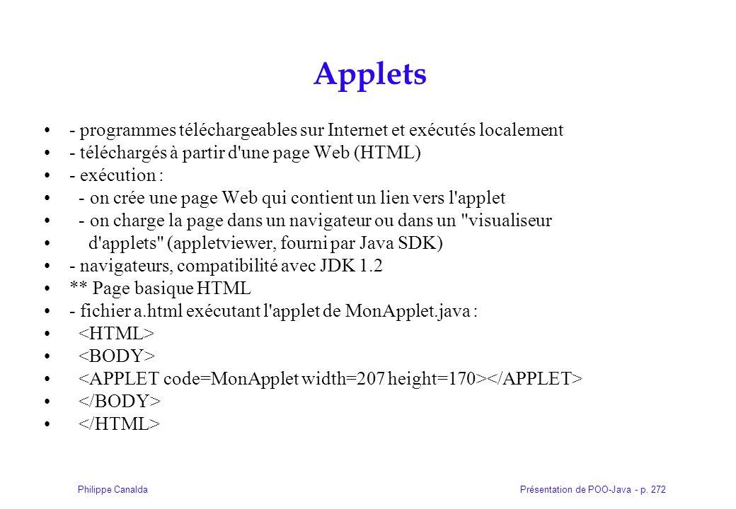 Applets - programmes téléchargeables sur Internet et exécutés localement. - téléchargés à partir d une page Web (HTML)