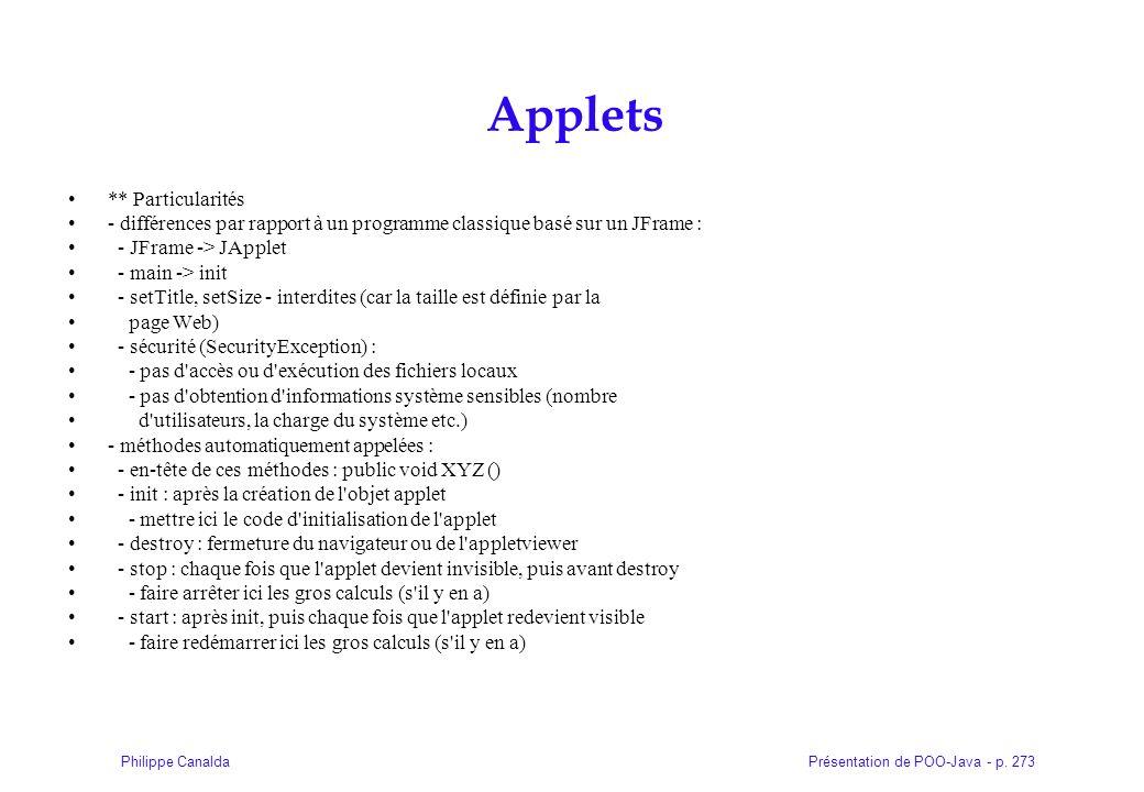 Applets ** Particularités