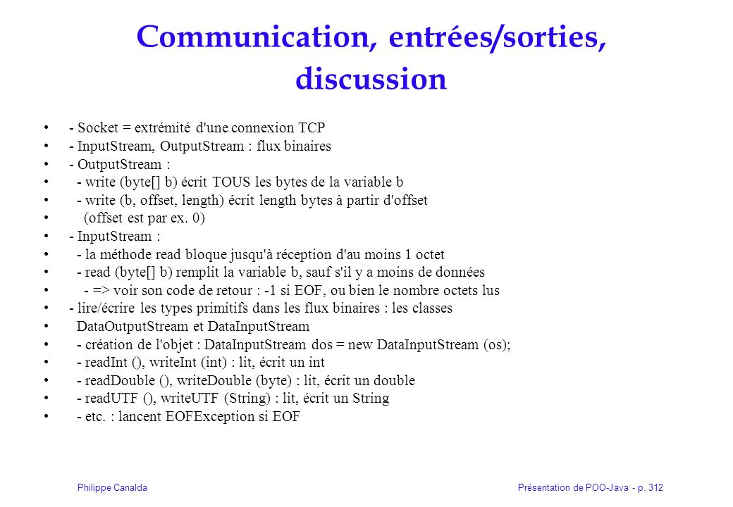 Communication, entrées/sorties, discussion