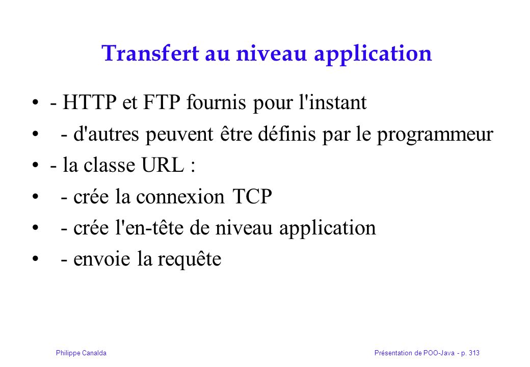 Transfert au niveau application