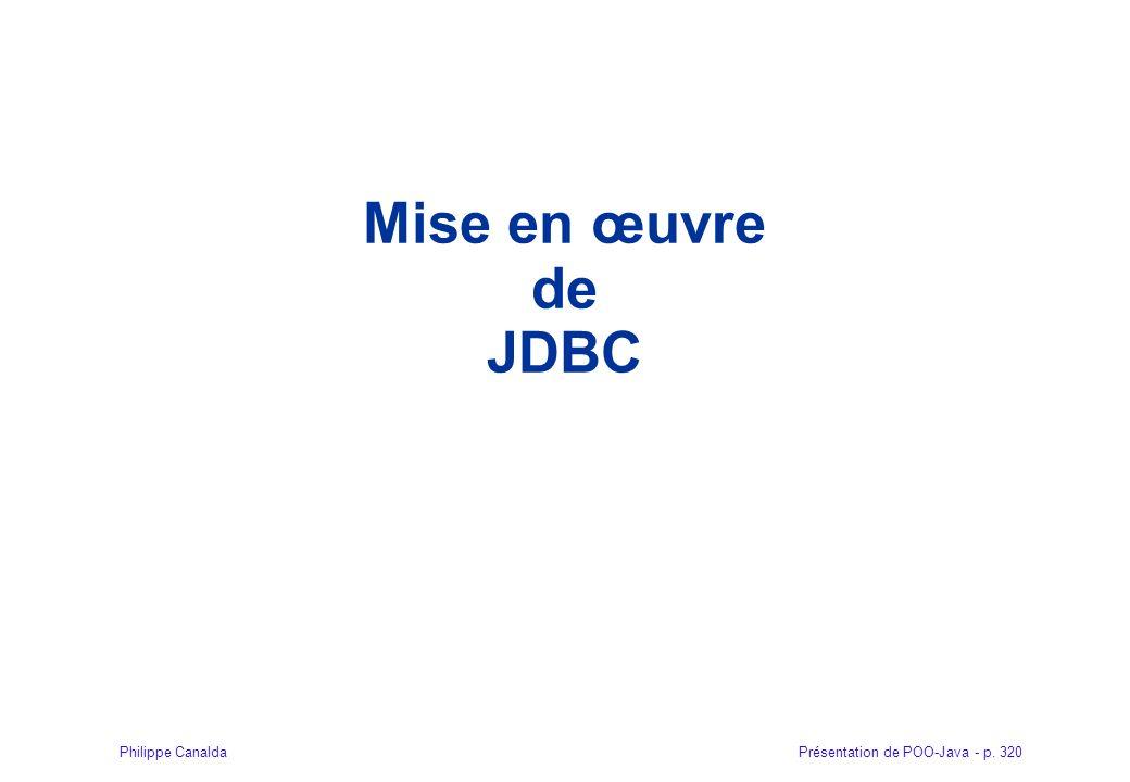 Mise en œuvre de JDBC