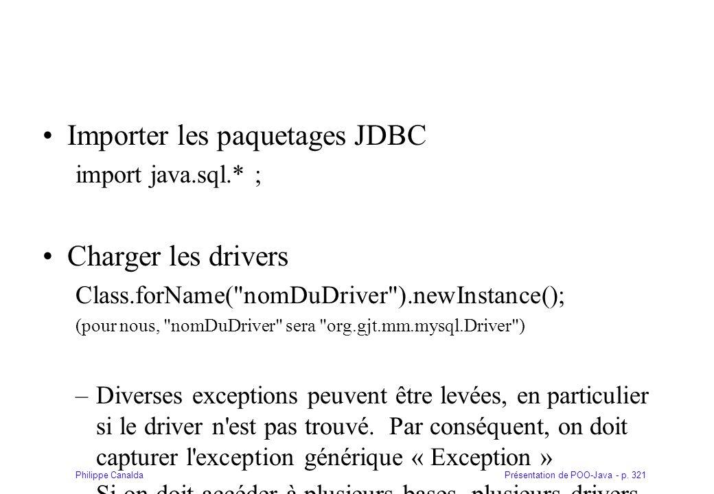 Importer les paquetages JDBC