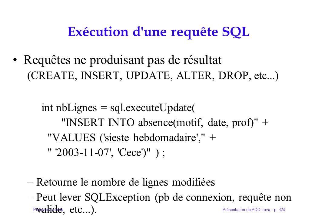 Exécution d une requête SQL
