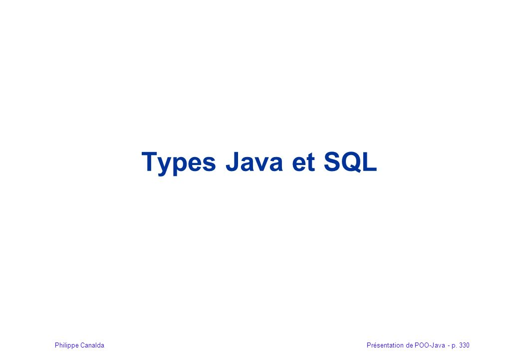 Types Java et SQL