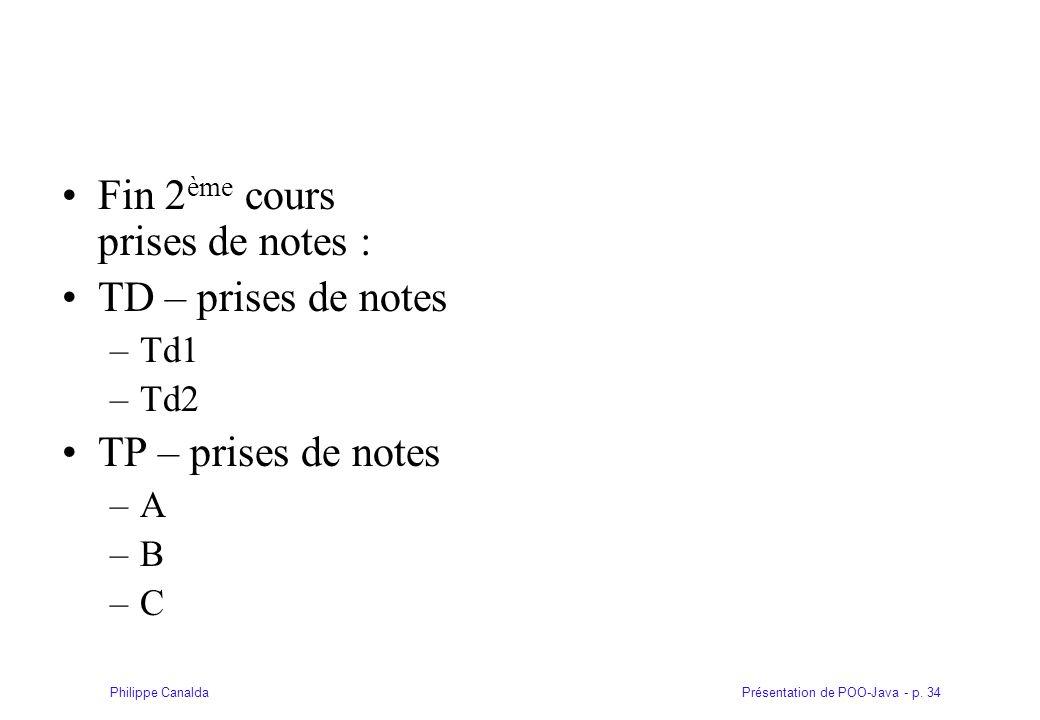 Fin 2ème cours prises de notes : TD – prises de notes