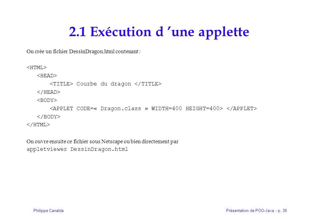 2.1 Exécution d 'une applette