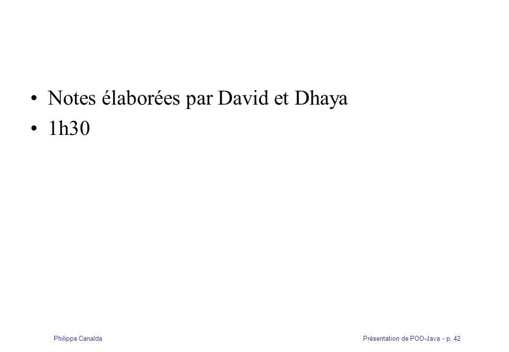 Notes élaborées par David et Dhaya