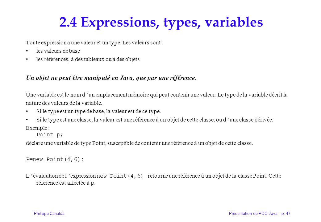 2.4 Expressions, types, variables