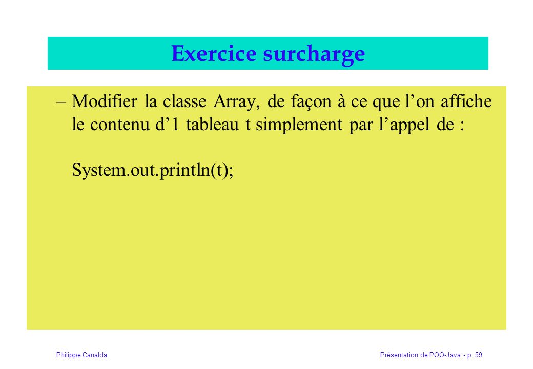 Exercice surcharge