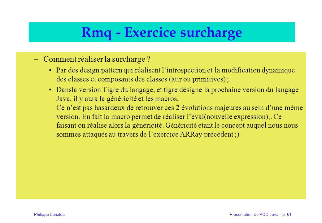 Rmq - Exercice surcharge