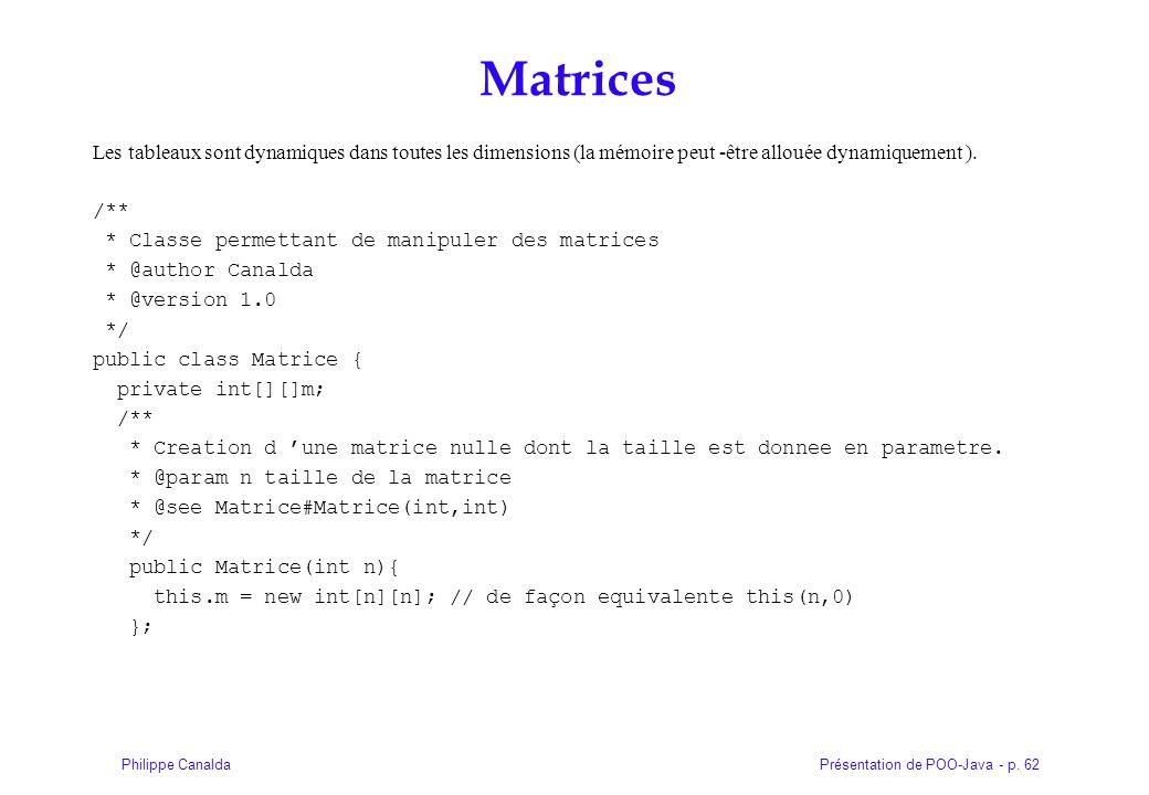 Matrices Les tableaux sont dynamiques dans toutes les dimensions (la mémoire peut -être allouée dynamiquement ).