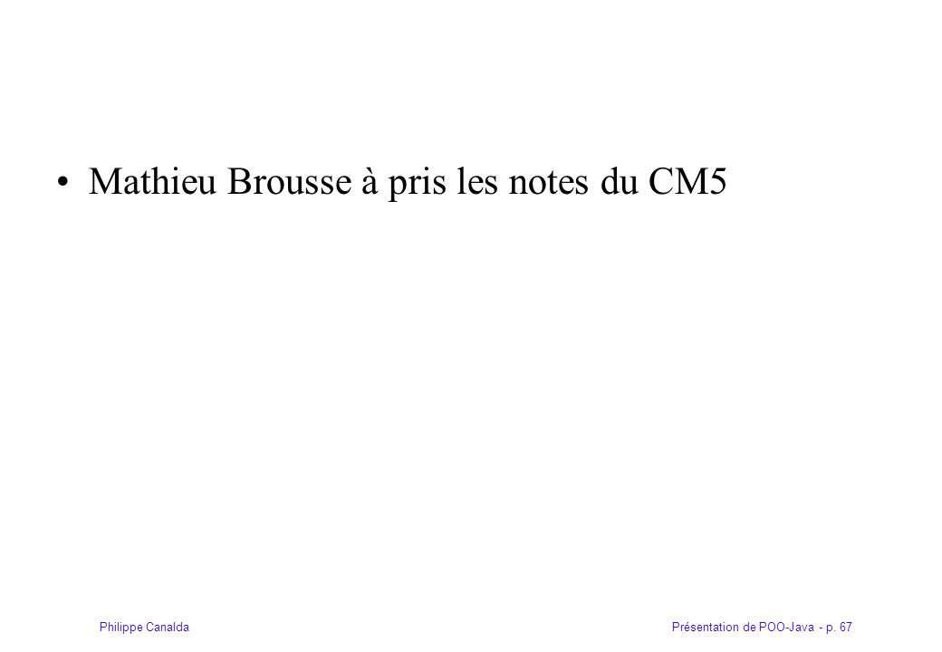 Mathieu Brousse à pris les notes du CM5