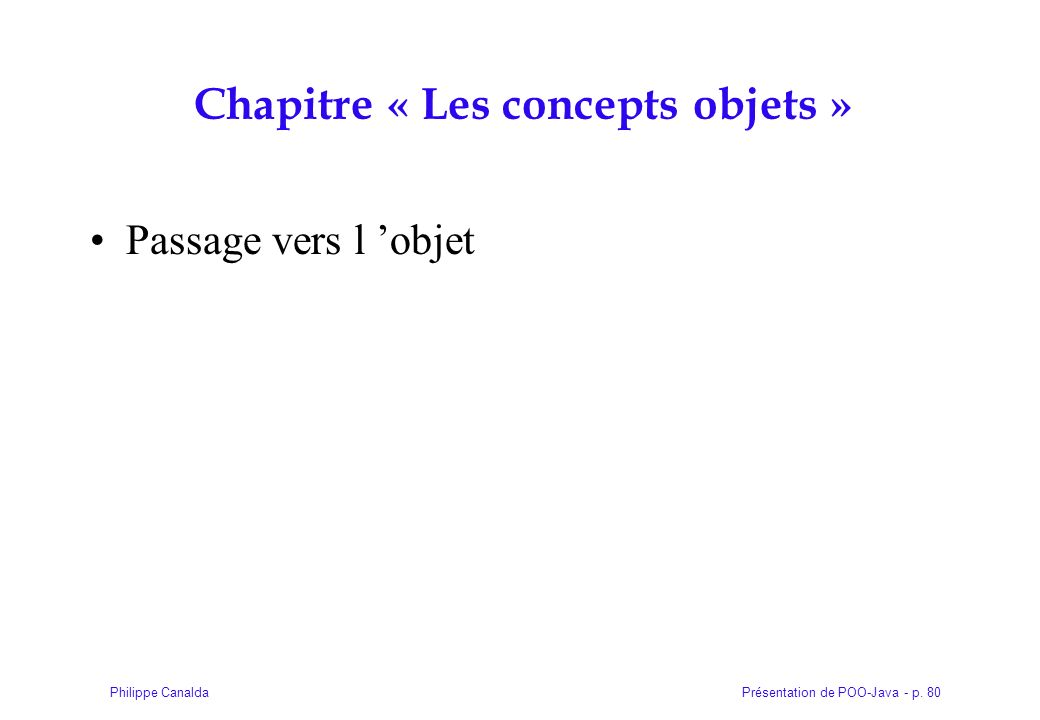 Chapitre « Les concepts objets »