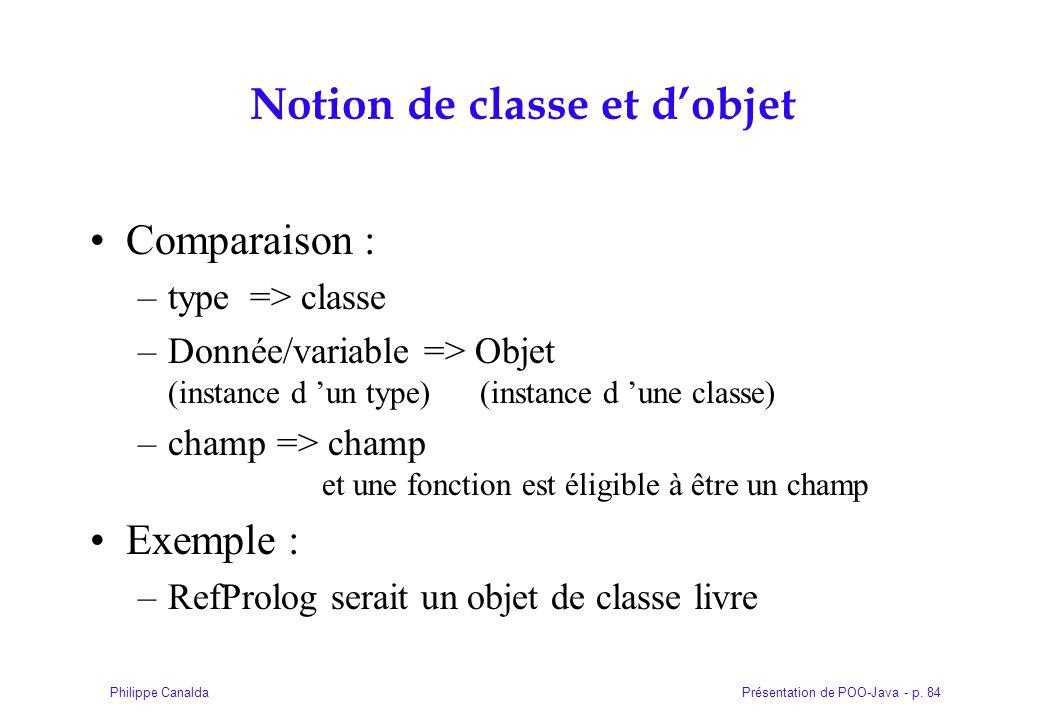 Notion de classe et d'objet